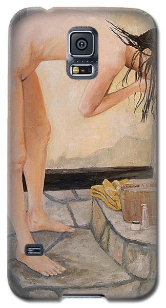 Galaxy S5 Case featuring the painting Girl With The Golden Towel by Alan Lakin