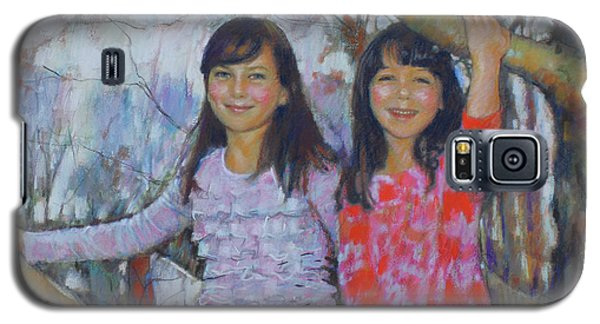 Galaxy S5 Case featuring the drawing Girls Upon The Tree by Viola El