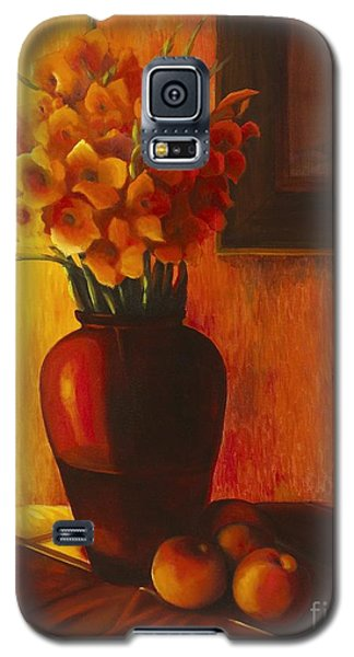 Galaxy S5 Case featuring the painting Gladioli Red by Marlene Book