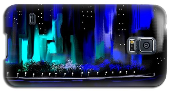 Glowing City In Blue And Aqua Galaxy S5 Case