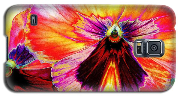 Galaxy S5 Case featuring the digital art Glowing Pansey by Suzanne Silvir