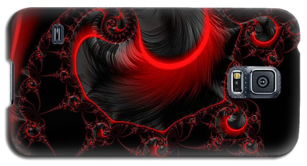 Glowing Red And Black Abstract Fractal Art Galaxy S5 Case