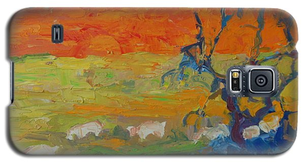 Galaxy S5 Case featuring the painting Goats With Orange Hill And Blue Tree by Thomas Bertram POOLE