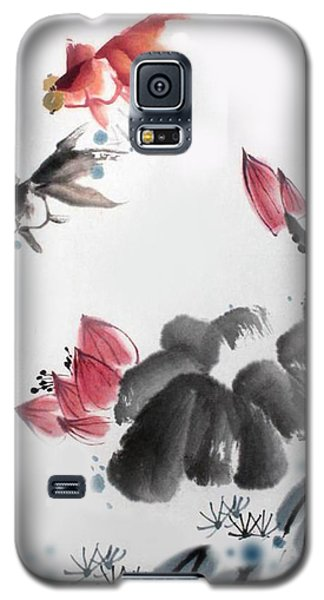 Galaxy S5 Case featuring the photograph Gold Fish In Lotus Pond by Yufeng Wang