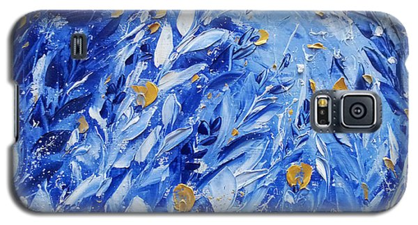 Gold Flowers On Blue Galaxy S5 Case