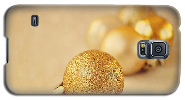 Gold Glittery Christmas Baubles Galaxy S5 Case