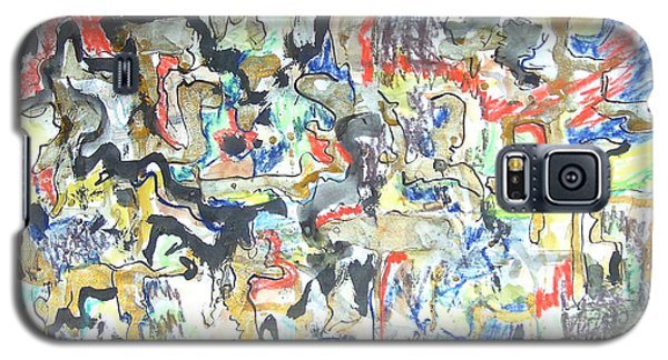 Galaxy S5 Case featuring the painting Gold In Abstract by Esther Newman-Cohen