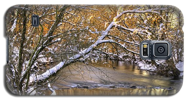 Gold In The Creek B1 - Owens Creek Near Loys Station Covered Bridge - Winter Frederick County Md Galaxy S5 Case