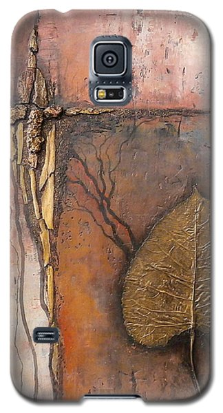 Galaxy S5 Case featuring the painting Gold Leaf by Buck Buchheister
