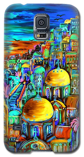 Gold On Santorini Churches Galaxy S5 Case by Roberto Gagliardi