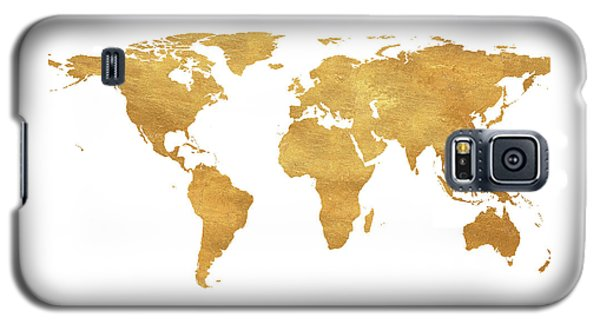 Galaxy S5 Case - Gold World Map by South Social Studio