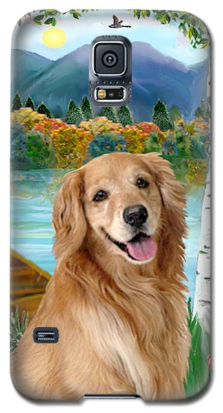 Galaxy S5 Case featuring the digital art Golden At The Lake by Jean B Fitzgerald