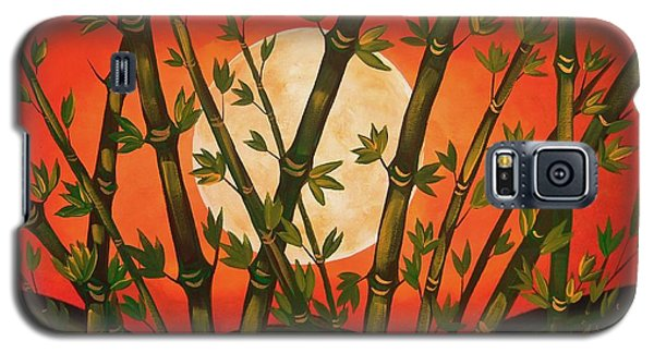 Galaxy S5 Case featuring the painting Golden Bamboo Moon by Cindy Micklos