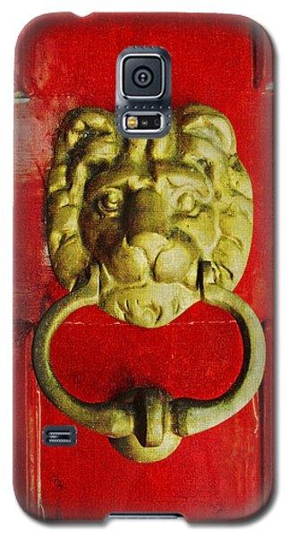 Golden Brass Lion On Red Door Galaxy S5 Case by Brooke T Ryan