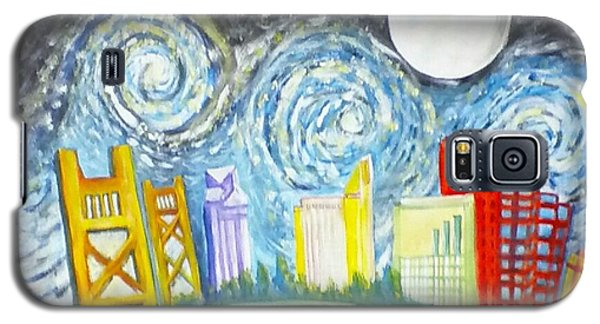 Galaxy S5 Case featuring the painting Golden City Baseball by Carol Duarte