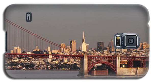 Galaxy S5 Case featuring the photograph Golden Gate Bridge And San Francisco Panoramic by Lee Kirchhevel
