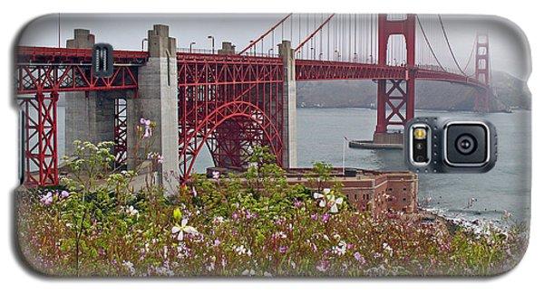 Golden Gate Bridge And Summer Flowers Galaxy S5 Case