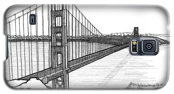 Galaxy S5 Case featuring the drawing Golden Gate Bridge by Calvin Durham