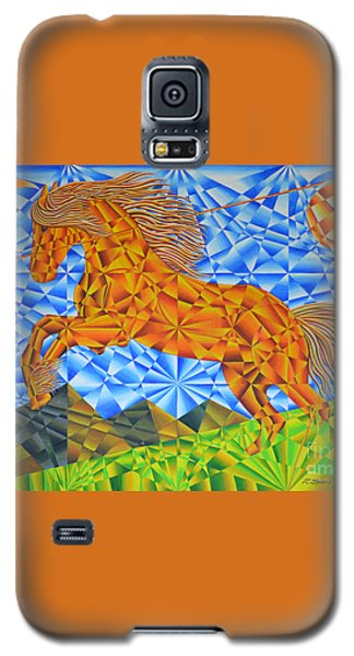 Galaxy S5 Case featuring the painting Golden Horse Over The Bitterroot's by Joseph J Stevens