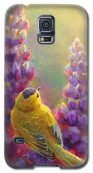 Golden Light 1 Wilsons Warbler And Lupine Galaxy S5 Case