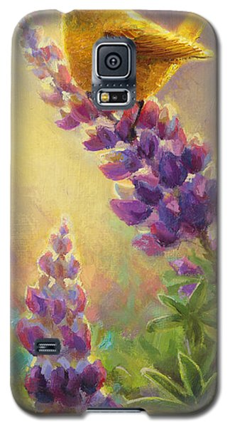 Golden Light 2 Wilsons Warbler And Lupine Galaxy S5 Case