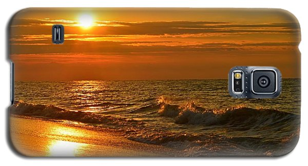 Golden Sunrise Colors With Waves And Horizon Clouds On Navarre Beach Galaxy S5 Case by Jeff at JSJ Photography