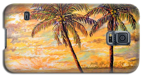 Galaxy S5 Case featuring the painting Golden Tropics by Lou Ann Bagnall