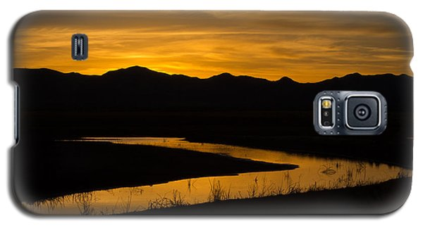 Galaxy S5 Case featuring the photograph Golden Wetland Sunset by Beverly Parks