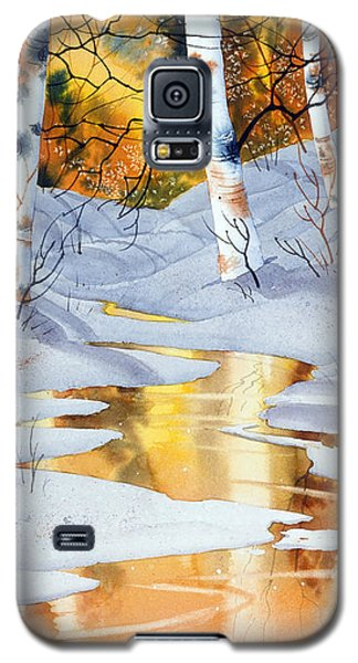 Galaxy S5 Case featuring the painting Golden Winter by Teresa Ascone