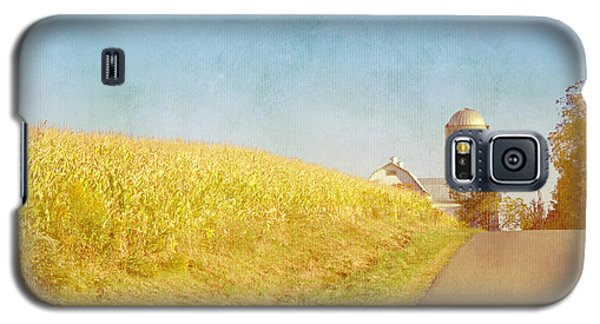 Golden Yellow Cornfield And Barn With Blue Sky Galaxy S5 Case by Brooke T Ryan