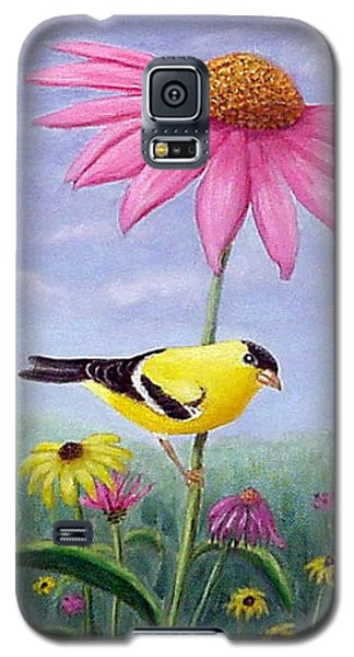 Galaxy S5 Case featuring the painting Goldfinch And Coneflowers by Fran Brooks