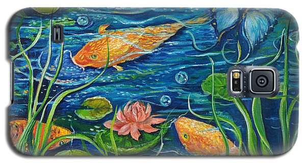 Galaxy S5 Case featuring the painting Goldfish And Butterfly by Yolanda Rodriguez