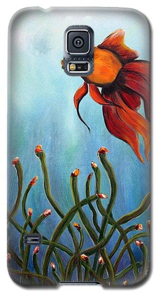 Galaxy S5 Case featuring the painting Goldfish by Jolanta Anna Karolska