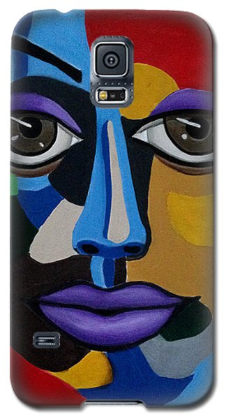 Colorful Illusion Abstract Face Art Painting, Big Brown Eye Art, Optical Artwork Galaxy S5 Case