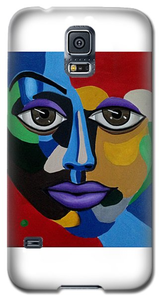 Colorful Abstract Face Art Painting, 3d Illusion, Big Brown Eyes, Purple Lips Galaxy S5 Case