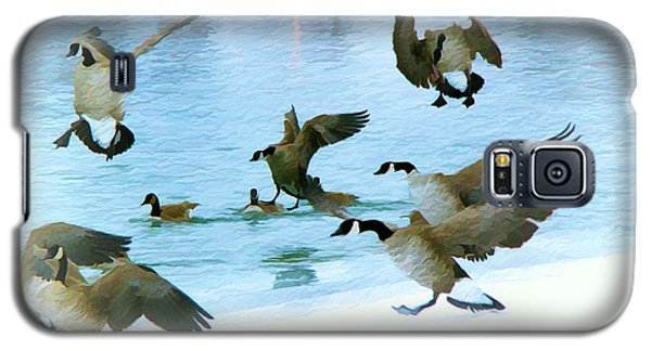 Galaxy S5 Case featuring the photograph Goose Hop by Kathy Bassett