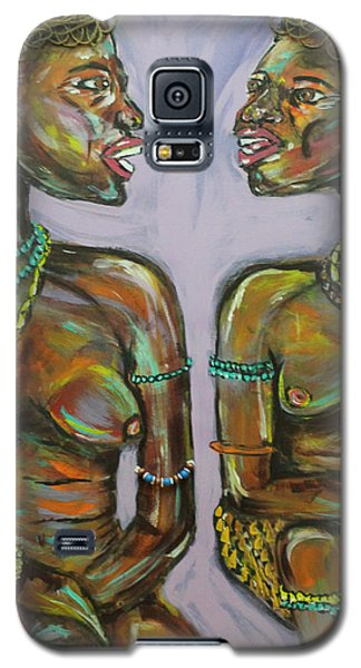 Galaxy S5 Case featuring the painting Gossip by Lucy Matta
