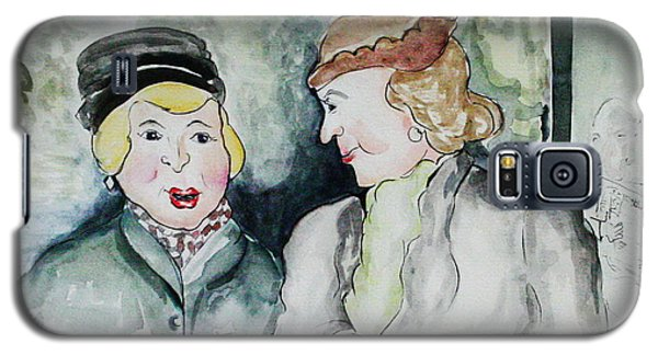Galaxy S5 Case featuring the painting Gossip On The Bus by Joyce Gebauer