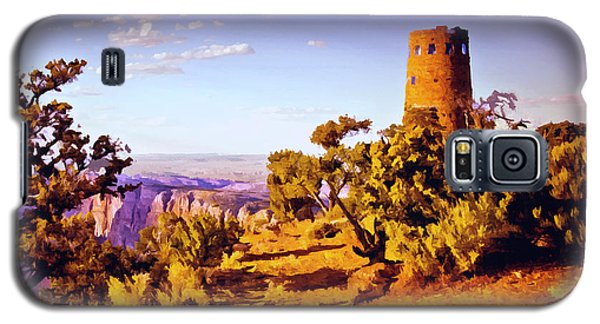 Galaxy S5 Case featuring the painting Grand Canyon National Park Golden Hour Watchtower by Bob and Nadine Johnston