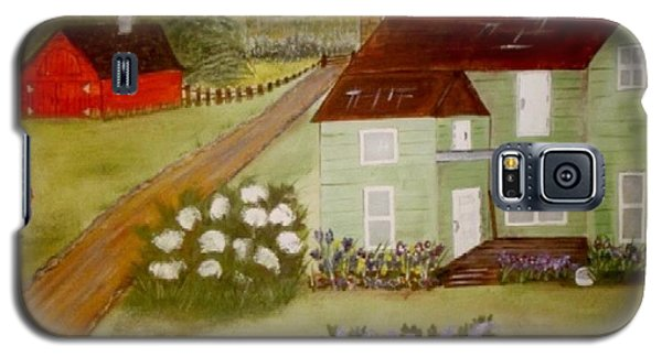 Galaxy S5 Case featuring the painting Grandmas Farm by Cindy Micklos