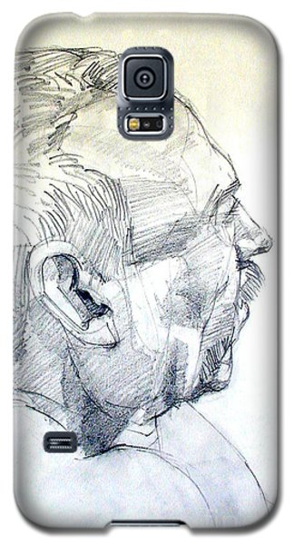 Galaxy S5 Case featuring the drawing Graphite Portrait Sketch Of A Man In Profile by Greta Corens