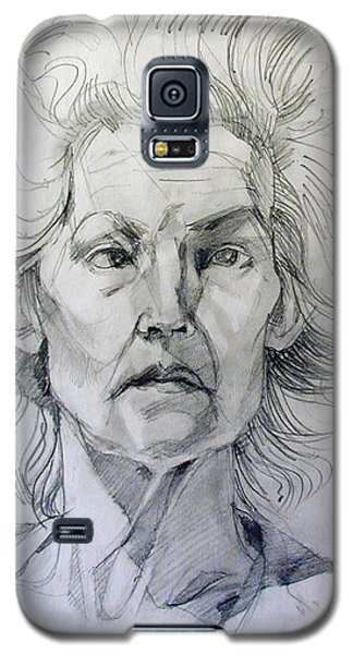 Galaxy S5 Case featuring the drawing Graphite Portrait Sketch Of A Well Known Cross Eyed Model by Greta Corens