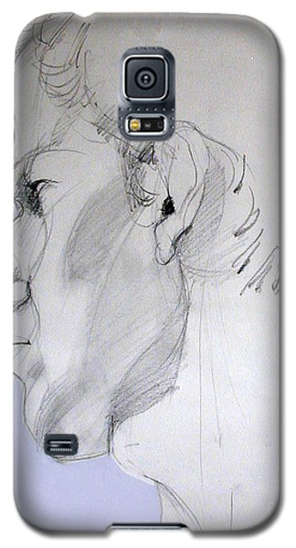 Galaxy S5 Case featuring the drawing Graphite Portrait Sketch Of A Young Man In Profile by Greta Corens