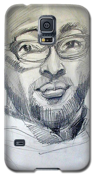 Galaxy S5 Case featuring the drawing Graphite Portrait Sketch Of A Young Man With Glasses by Greta Corens