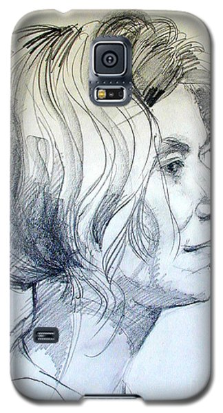 Galaxy S5 Case featuring the drawing Portrait Drawing Of A Woman In Profile by Greta Corens