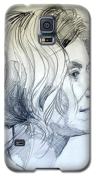 Portrait Drawing Of A Woman In Profile Galaxy S5 Case by Greta Corens