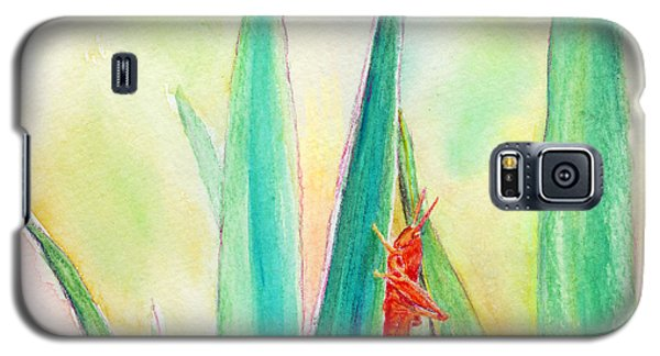 Galaxy S5 Case featuring the painting Grasshopper by C Sitton