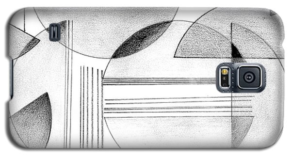 Galaxy S5 Case featuring the drawing Gray And Black Abstract by Mary Bedy