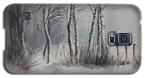 Galaxy S5 Case featuring the painting Gray Forest by Rachel Hames