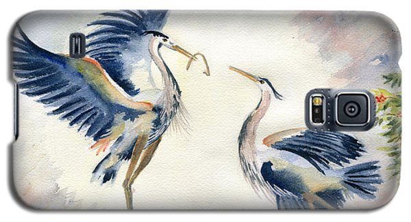 Great Blue Heron Couple Galaxy S5 Case by Melly Terpening